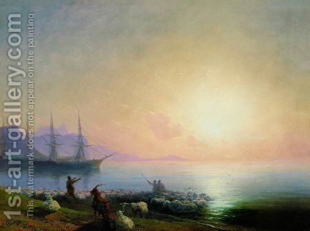 Sheepdip 2 by Ivan Konstantinovich Aivazovsky - Reproduction Oil Painting
