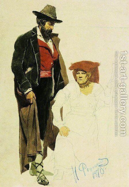 Italian models by Ilya Efimovich Efimovich Repin - Reproduction Oil Painting