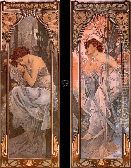 Evening reverie (nocturnal slumber) by Alphonse Maria Mucha - Reproduction Oil Painting