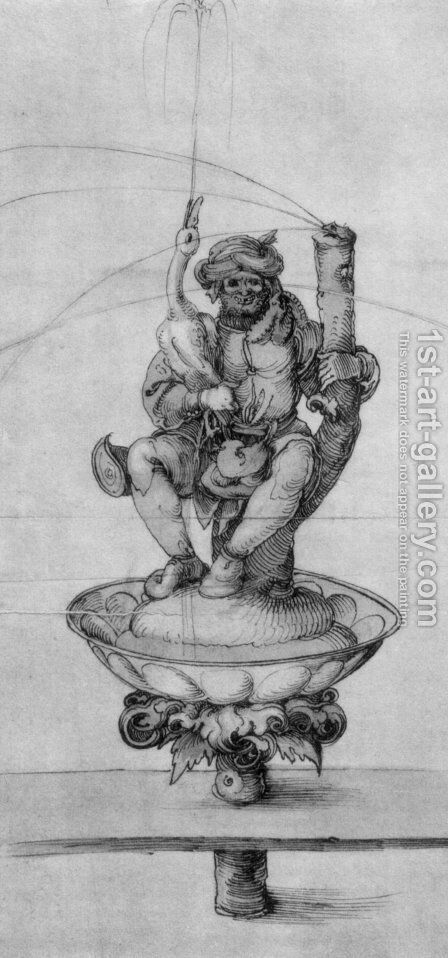 Bauer goose with a fountain figure by Albrecht Durer - Reproduction Oil Painting