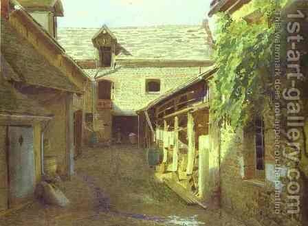 Village-Yard-in-France by Ivan Nikolaevich Kramskoy - Reproduction Oil Painting