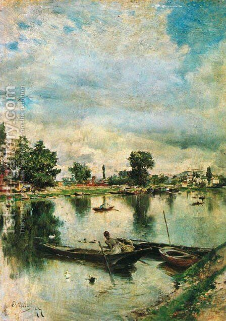River Landscape by Giovanni Boldini - Reproduction Oil Painting