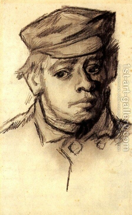Head of a Young Man 3 by Vincent Van Gogh - Reproduction Oil Painting