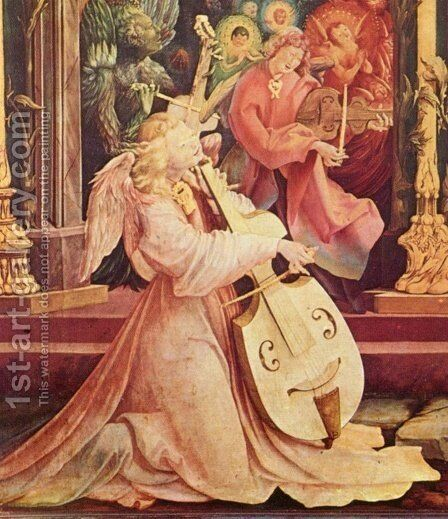 The Concert of Angels (detail from the Isenheim Altarpiece) by Matthias Grunewald (Mathis Gothardt) - Reproduction Oil Painting