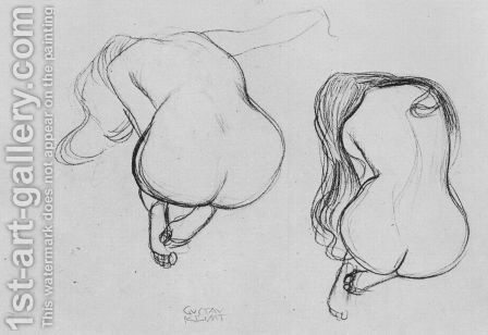 Two Studies of Sitting Nudes by Gustav Klimt - Reproduction Oil Painting