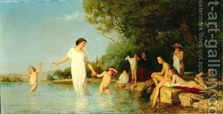 Bathers by Albert Anker - Reproduction Oil Painting