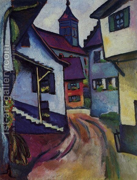 Street with church in Kandern by August Macke - Reproduction Oil Painting