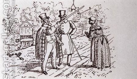 Talking on the street (Lords in the street outside the house patcher) by Boris Kustodiev - Reproduction Oil Painting