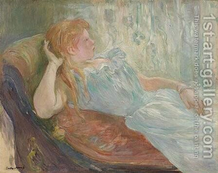 Young girl lying by Berthe Morisot - Reproduction Oil Painting