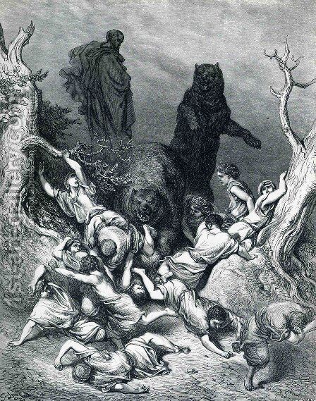 The Children Destroyed by Bears by Gustave Dore - Reproduction Oil Painting