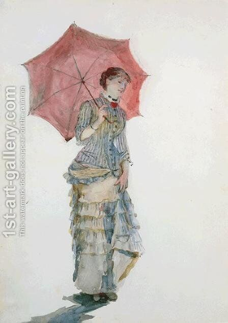 Woman with an Umbrella by Marie Bracquemond - Reproduction Oil Painting