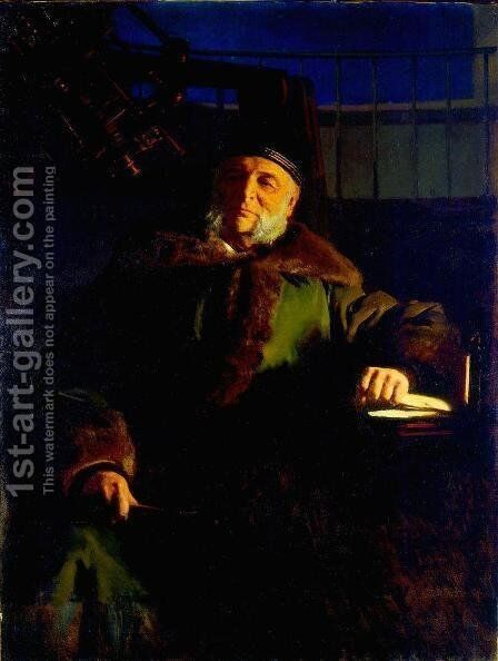 Portrait of the astronomer Otto Struve Vasilyevich by Ivan Nikolaevich Kramskoy - Reproduction Oil Painting