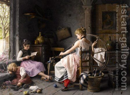The spinning wheel by Giovanni Battista Torriglia - Reproduction Oil Painting
