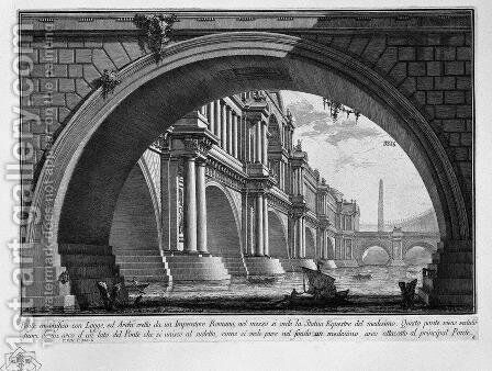 Bridge with magnificent balconies and arches erected by a Roman Emperor by Giovanni Battista Piranesi - Reproduction Oil Painting