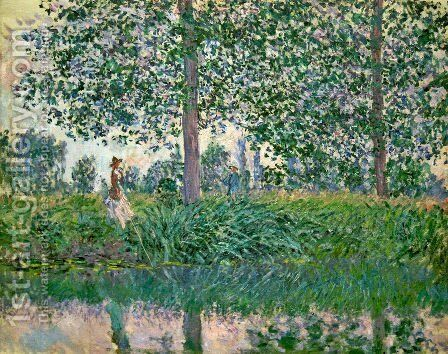 Fishing on the River Epte by Claude Oscar Monet - Reproduction Oil Painting