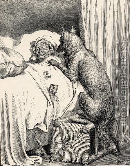 He sprang unpon the old woman and ate her up by Gustave Dore - Reproduction Oil Painting
