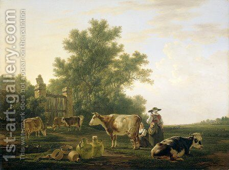 Milking Time by Abraham van, I Strij - Reproduction Oil Painting