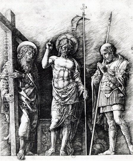 The resurrected Christ between St. Andrew and Longinus by Andrea Mantegna - Reproduction Oil Painting