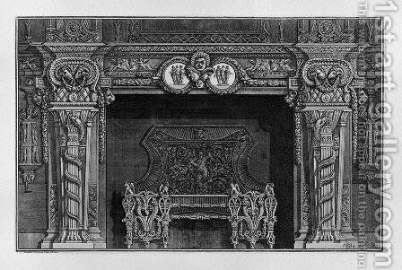 Fireplace stage three masks in the frieze between two medallions with the Graces, in the interior, full wing by Giovanni Battista Piranesi - Reproduction Oil Painting