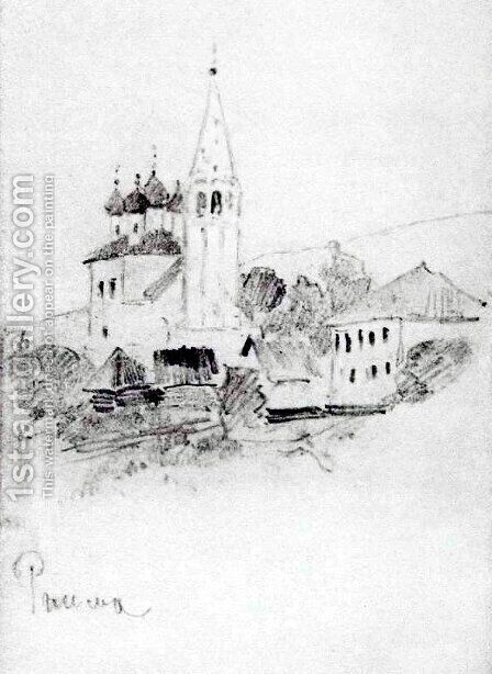 Church with belfry in Reshma by Isaak Ilyich Levitan - Reproduction Oil Painting