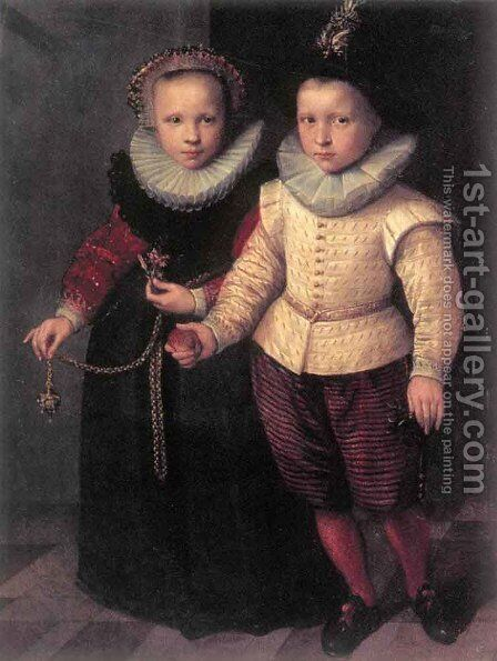 Double Portrait of a Brother and Sister by Cornelis Ketel - Reproduction Oil Painting