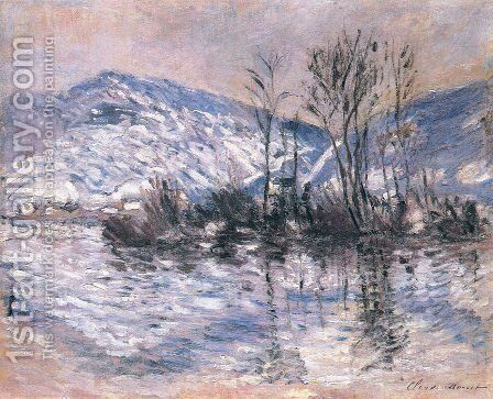 The Seine at Port Villez, Snow Effect 02 by Claude Oscar Monet - Reproduction Oil Painting
