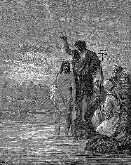 The Baptism Of Jesus by Gustave Dore - Reproduction Oil Painting