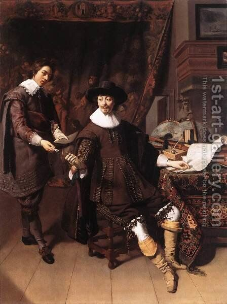 Constantijn Huygens and his Clerk 1627 by Thomas De Keyser - Reproduction Oil Painting