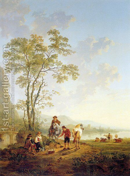 Italian landscape and ruin Merwede by Jacob van Strij - Reproduction Oil Painting