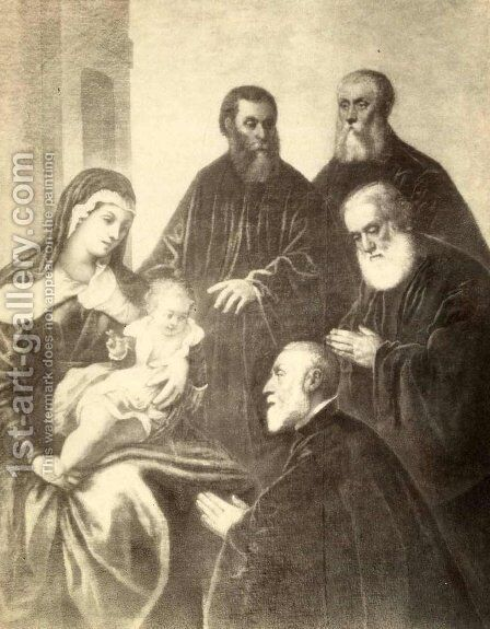 The Virgin and Child with four senators by Jacopo Tintoretto (Robusti) - Reproduction Oil Painting