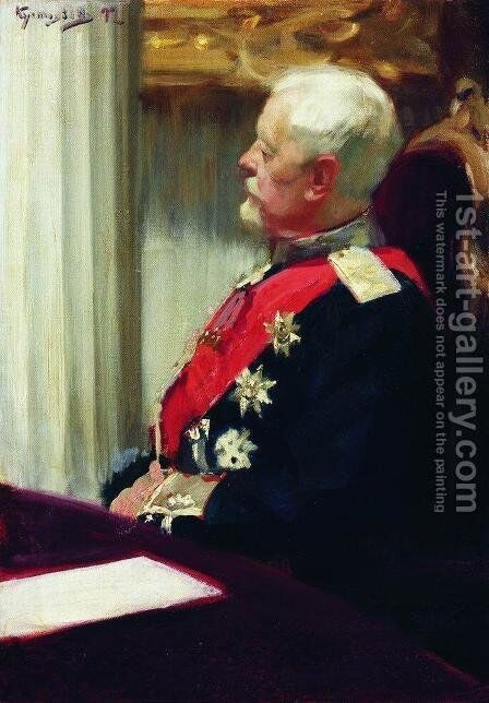 General of Infantry Christopher Roop by Boris Kustodiev - Reproduction Oil Painting