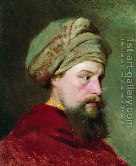 The sitter's head. The second half of the XIX century by Ilya Efimovich Efimovich Repin - Reproduction Oil Painting