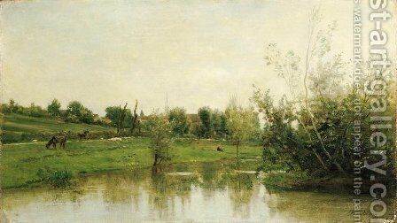 A corner of Normandy by Charles-Francois Daubigny - Reproduction Oil Painting