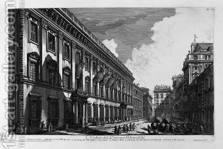 View on Mount Quirinal Palace of the most excellent of the House Barberini Bernini Cav Architecture by Giovanni Battista Piranesi - Reproduction Oil Painting