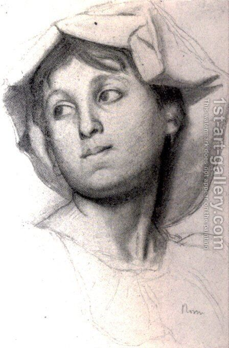 Head of a Young Roman Girl by Edgar Degas - Reproduction Oil Painting