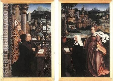 Donor with St. Nicholas and his Wife with St. Godelina by Jan Provoost - Reproduction Oil Painting