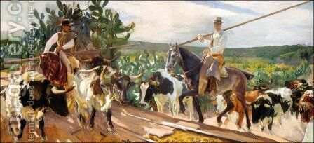 Andalusia, The Round Up by Joaquin Sorolla y Bastida - Reproduction Oil Painting