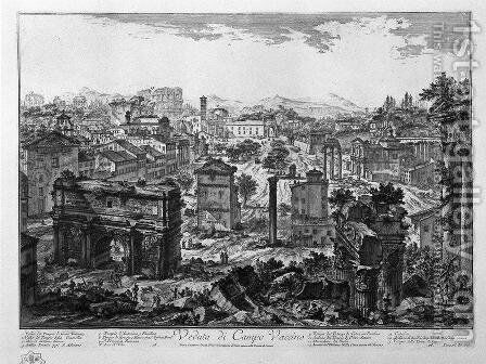 View of Campo Vaccino by Giovanni Battista Piranesi - Reproduction Oil Painting