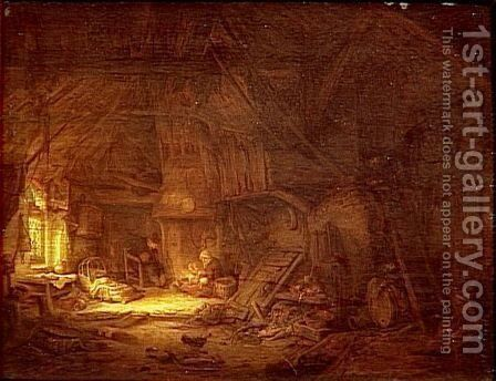 Cottage Interior with a Family around the Hearth by Adriaen Jansz. Van Ostade - Reproduction Oil Painting