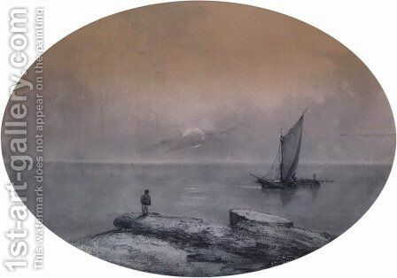 On the sea by Ivan Konstantinovich Aivazovsky - Reproduction Oil Painting