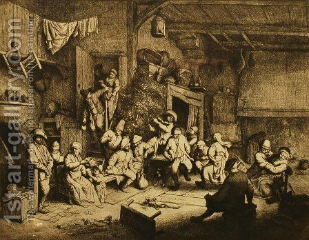 Dance at the Inn by Adriaen Jansz. Van Ostade - Reproduction Oil Painting