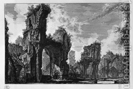 Ruins of Sixtus, or both of the great hall of the Antonine Baths by Giovanni Battista Piranesi - Reproduction Oil Painting