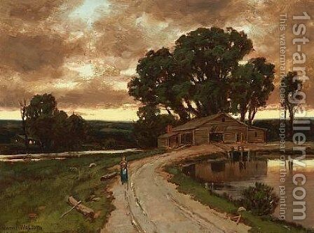 Figure on the road and farmhouse at sunset by Homer Watson - Reproduction Oil Painting