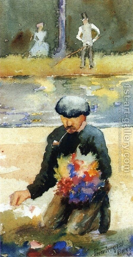 Picking Flowers by Maurice Brazil Prendergast - Reproduction Oil Painting