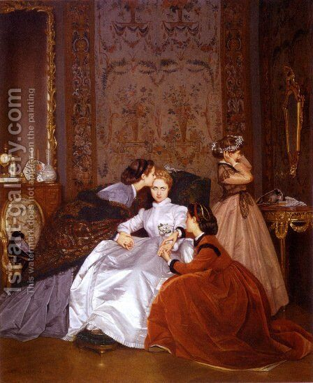 The Reluctant Bride 2 by Auguste Toulmouche - Reproduction Oil Painting