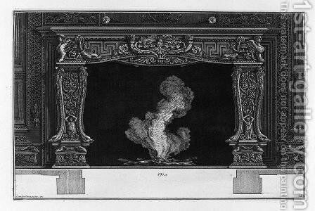 Fireplace on the frieze of acanthus leaf between two horns, dolphins and sphinxes by Giovanni Battista Piranesi - Reproduction Oil Painting