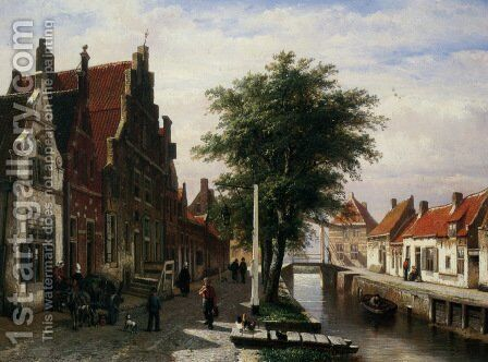 Along the Canal 2 by Cornelis Springer - Reproduction Oil Painting