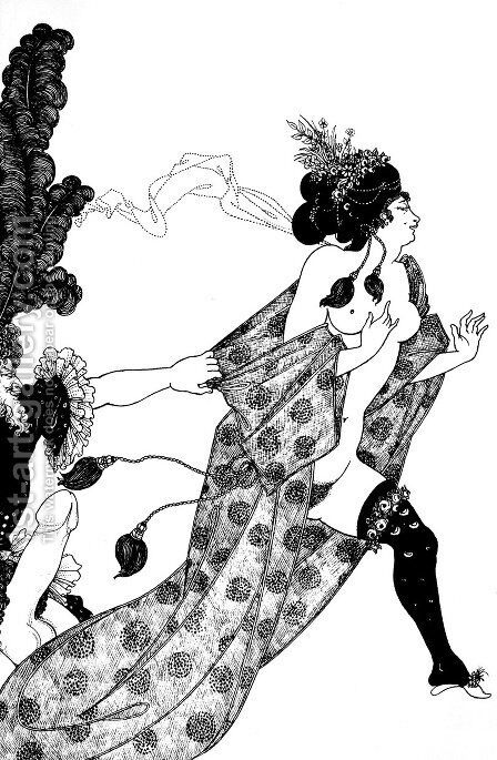 Cinesias Entreating Myrrhina to Coition by Aubrey Vincent Beardsley - Reproduction Oil Painting