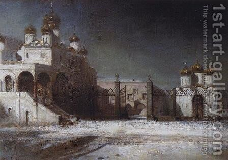 Cathedral Square in the Moscow Kremlin at night by Alexei Kondratyevich Savrasov - Reproduction Oil Painting