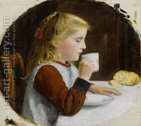 Madchen, Kaffee trinkend by Albert Anker - Reproduction Oil Painting